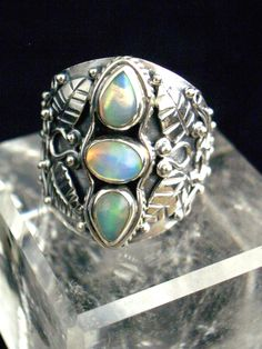 Ethiopian Welo Opal 3 Genuine Gemstones Polished 925 Sterling Silver Statement Ring Jewellery Size by Ameogem on Etsy