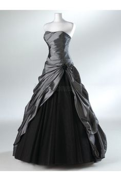 Silver Wedding Dress A-line Wedding Gowns Bridal Gown Bridal Dresses Custom -- YOU can swap the Black color) idk but that metalic grey. Organza Bridesmaid Dress, Tulle Prom Dress, Dress Up, Organza Dress, Party Dress, Satin Gown, Wedding Robe, Wedding Gowns, Gothic Wedding