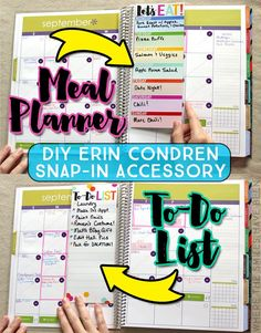 Learn how to make your own Erin Condren Snap-In Meal Planner/To-Do List! It's the perfect accessory for any Life Planner! Grab the FREE printable too! Planner Pages, Meal Planner, Happy Planner, Planner Stickers, Planner Ideas, Planner Diy, Planner Inserts, Budget Planner, Weekly Planner