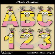Números y minion chica alfabeto Letras Clip por AisnesCreations