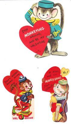 Vintage Valentines featuring dressed monkeys