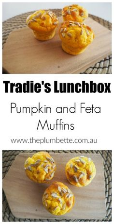 Tradie's Lunchbox: Pumpkin and Feta Pinwheels With Sweet Chilli Sauce and Sour Cream - The Plumbette Savory Muffins, Baking Muffins, Savory Snacks, Lunch Snacks, Yummy Snacks, Work Lunches, Yummy Food, Savoury Recipes, Healthy Lunches