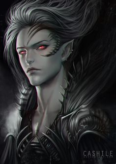 Not sure if Vampire Elves could exist, but if they do, you would most likely find in Dark Elf Mythos. It's an interesting concept for a D&D setting. Dark Fantasy, Fantasy World, Fantasy Artwork, Fantasy Creatures, Mythical Creatures, Character Portraits, Character Art, Art Vampire, Angels And Demons