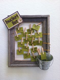 bucket list display frame, cute for each family member to put on the list!