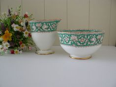 Crown Staffordshire vintage  Ellesmere pattern green milk jug and sugar bowl by MaddyVintageHostess, £16.00
