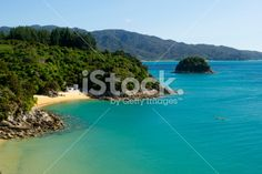 Honeymoon Bay, Abel Tasman National Park, New Zealand Royalty Free Stock Photo Abel Tasman National Park, New Zealand Landscape, Kiwiana, Seaside Towns, New Zealand Travel, Turquoise Water, South Island, Travel And Tourism, National Parks