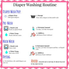 Cloth Diaper washing routine FREE printable! It can be so hard to explain your wash routine to the babysitter, now you can fill out the printable to give to them!