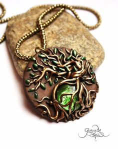 Life tree pendant by Adelinia on deviantART Tree Of Life Jewelry, Fairy Jewelry, Polymer Clay Bracelet, Polymer Clay Crafts, Polymer Clay Embroidery, Clay Figurine, Air Dry Clay, Sculpture Clay, Witches