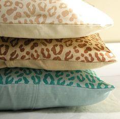 Beach Leopard Print Linen Pillow case by giardino on Etsy, $38.00