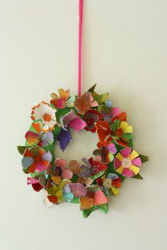 Colorful egg carton flower wreath