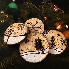 "Fuhaieec Wood Slices 2.4-2.8"" (6-7cm) Natural Wood Slices Unfinished Predrilled Round Discs Tree Bark Wooden Circles for DIY Crafts Christmas Rustic Wedding Ornaments (20): Amazon.ca: Home & Kitchen"