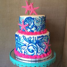 13th Birthday Parties, 16th Birthday, Birthday Cake, Birthday Ideas, Pretty Cakes, Cute Cakes, Cake Cookies, Cupcake Cakes, Lily Pulitzer