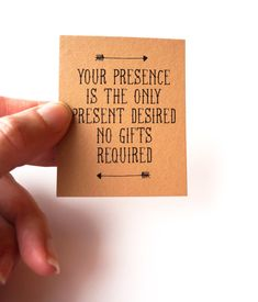 Your Presence is the Only Present Desired: No Gifts Invitation