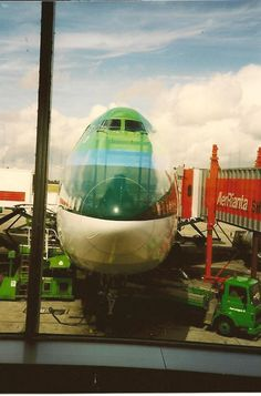 One of Aer LIngus' two Boeing Taken from inside the Shannon Airport window A380 Aircraft, Boeing 747, Air Travel, Travel And Tourism, International Civil Aviation Organization, Cargo Transport, Dublin Airport, International Airlines, Jumbo Jet