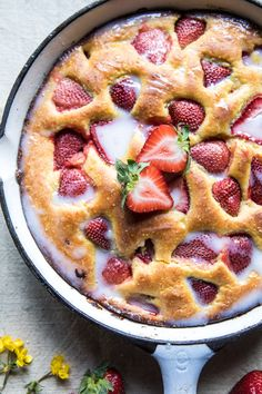 Strawberry Cornmeal Cake with Buttermilk Glaze | halfbakedharvest.com @hbharvest