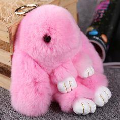 Dễ thương Mini Genuine Rabbit Fur Pom Pom Key Chain Nữ Đính thỏ Đồ Chơi Con Búp Bê Túi Vòng Chìa Khóa Xe Quái Vật Keychain Jewelry Gift