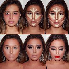 Contour makeup, contouring guide, skin makeup, power of makeup, love ma Face Contouring, Contour Makeup, Skin Makeup, Beauty Makeup, Contouring Guide, Glow Makeup, Makeup Guide, Makeup Tools, Organic Makeup