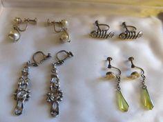 LOT 4 PR 20s ART DECO Sterling(2 pr) Genuine Cultured PEARLS Vtg Earrings LUCITE #2pairmarkedsterlingOneunreadablebuttested
