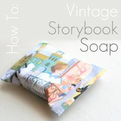 This pretty storybook soap is an easy and inexpensive gift idea or party favour. You can use this wrapping technique to make any small gift look extra special. You will need: -A lovely bar of soap, the handmade kind would be even better. -A scanned and printed image out of a vintage story book. I've just used normal office paper...