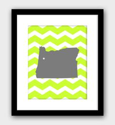 Oregon Chevron Modern State Wall Art Home Decor Art Print
