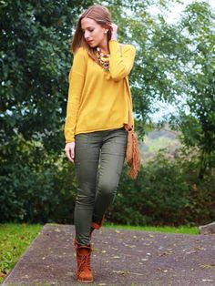 Look verde y mostaza | Looks and shoes