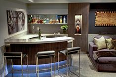 Trafalgar - Contemporary Media Room and Bar - contemporary - Home Theater - Toronto - Robinson Interior Design Modern Home Bar Designs, Modern Bar, Home Wet Bar, Bars For Home, Bar Sala, Home Bar Rooms, Basement Bar Designs, Basement Bars, Basement Ideas