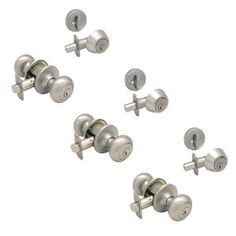 3 - Bedford Satin Nickel Enry Knob with Matching Single Cylinder Deadbolt Combo Packs Keyed Alike (We Key Lock Orders Alike for Free) by Designers Impressions. $77.94. Kwikset Keyway (We Key Lock Orders Alike for Free). Package of three (3) Entry Knobs and three (3) Single Cylinder Deadbolts Keyed Alike. Includes all Mounting Hardware  Matching Strike Plates Included  15 Year Finish Warranty  Lifetime Mechanical Warranty  Grade 3 (Residential Use)  Sold Individually