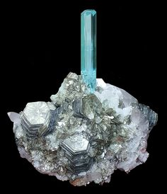 "Beryl var. Aquamarine ""pencil"" on Muscovite and Quartz ~ Shigar Valley, Skardu District, Baltistan, Gilgit-Baltistan, Northern Areas of Pakistan"