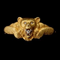 ART NOUVEAU DIAMOND, 18K YELLOW GOLD, PLATINUM BEAR BRACELET.