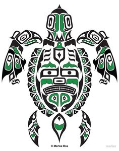 "The Traveler - Original Haida, Tlingit Sea Turtle Art - Green"" by ..."
