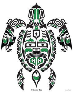 "The Traveler - Original Haida, Tlingit Sea Turtle Art - Green"" by ..."