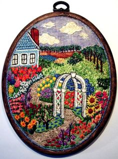 Garden scene (embroidery done by Linda Toppo)