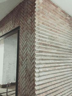 Love this different way to layout brick! The zig zag herringbone pattern is a cl… Love this different way to layout brick! The zig zag herringbone pattern is a classic, but I love the exposed edges of it! Texture Architecture, Architecture Design, Plans Architecture, Brick Design, Facade Design, Exterior Design, Interior And Exterior, Architectural Section, Architectural Elements