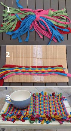 cool rag rug tooWeave Fun Summer Placemats With T-Shirt Yarn! This is the weaving my daughter has been working on using the scraps left over after I used a bunch of t-shirts to make some yarn. Now I'm no weaving expert, but this little project.Cook outs s Yarn Crafts, Fabric Crafts, Diy And Crafts, Crafts For Kids, Arts And Crafts, Weaving Projects, Craft Projects, Tapetes Diy, Tshirt Garn