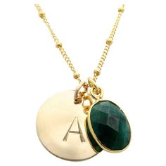 Add a charming touch to both work and weekend ensembles with this gold-plated necklace, featuring an initialed pendant and faceted dyed emerald accent. ...