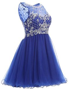 Dresstells® Short Tulle Scoop Prom Dress With Beading Homecoming Dress