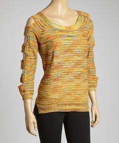 Another great find on #zulily! Yellow Space-Dye Cutout Sweater by Mechant #zulilyfinds