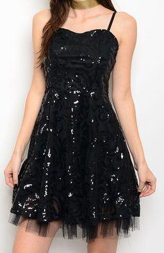 LBD Black Glamours A-line Princess Tulle Sequin Dress Formal Embellished Dress #Fashion #FitandFlareALineSemiFormalDressEmpireWaistTiered #LittleBlackDress