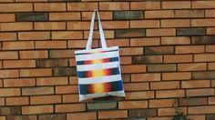 Rainbow strippes hand painted tote canvas bag by CatAndBirdStudio, rainbow, colorfull bag