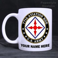 US Army 77th Aviation Brigade Personalized Coffee Mugs. Made in the USA. #Handmade