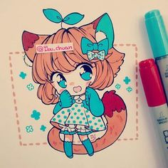 What would happen if I write you email again? Kawaii Anime, Kawaii Chibi, Cute Chibi, Kawaii Art, Marker Kunst, Copic Marker Art, Copic Art, Manga Drawing, Manga Art