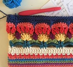 Enough for today. … Enough for today. Looks a little bit like multi coloured thistles? Art Au Crochet, Mandala Au Crochet, Crochet Motifs, Crochet Borders, Crochet Stitches Patterns, Crochet Squares, Crochet Flowers, Free Crochet, Stitch Patterns