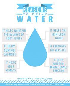 WATER - Reasons to drink Water - See link: http://www.foodpyramid.com/6-essential-nutrients/water/ #drinkmorewater #nutrient #nutrition