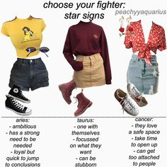Which star signs do y'all wanna see next? There will be 4 parts and I'll be posting the second part tomorrow! Dope Outfits, Trendy Outfits, Summer Outfits, Fashion Outfits, Smart Outfit, Romantic Outfit, Fashion Collage, Petite Outfits, Kawaii Clothes