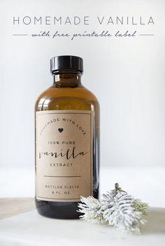 Homemade Vanilla + Free Printable Labels - brepurposed