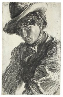 YOUNG MAN WITH HAT By Adolph von Menzel ,1875