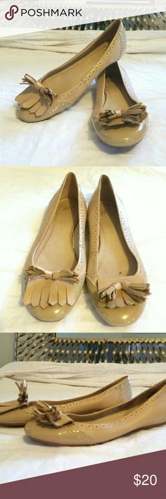 Leather Tassel Flats Tan,  patent leather, tassel flats. Hardly worn. Amazing I ng condition. Shoes Flats & Loafers