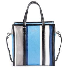 Balenciaga Bazar Shopper Small Striped Leather Tote Bag, Blue/Multi (5,630 PEN) ❤ liked on Polyvore featuring bags, handbags, tote bags, stripe, totes, white tote bag, zippered tote bag, zip top tote, handbags totes and white leather tote bag