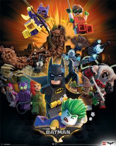 The constant battle between Batman and the Joker in Gotham is no different in the Lego world. This Lego Batman poster shows the Gotham vigilante himself, voiced by Will Arnett, alongside a whole host of iconic DC characters including The Joker, Batgirl, S Lego Batman Party, Lego Batman Movie, Batman Stuff, Superhero, Lego Film, Batman Robin, Martin Freeman, Catwoman, Legos