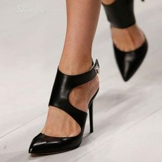 Discover unique designer Shoes offered by independent designers at StyleWe; Show your new hot look in our affordable designer fashion Shoes with great quality; Chic Shoes at StyleWe Black Stiletto Heels, Black Stilettos, Black Shoes, Ankle Strap Heels, Pumps Heels, High Heels, Prom Heels, Carrie Bradshaw, Yves Saint Laurent